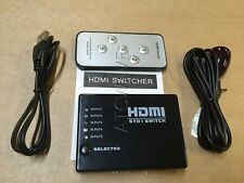 5 WAY PORT HDMI Splitter Switch Selector Hub +IR Remote+USB Cable For HDTV PS3