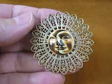 (j-hum-4) white black Sun Moon face pin pendant brooch aceh bovine bone carving