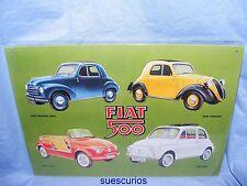 Metal Advertising Car Garage Sign Fiat 500 (4 cars) Classic Car Tin Sign