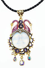 KIRKS FOLLY MALEFICENT SEAVIEW MOON 25MM CORD NECKLACE GT/ CRYSTAL AB ~~NEW