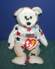 """Ty Beanie Baby Bear """"Glory"""" 1998 with Hang Tag in  Plastic Case with Name on It"""
