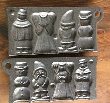 Cast Iron Christmas Hard Candy Mold John Wright 1990's Snowman Angel USA