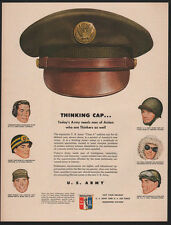 1950 U.S. Army & U.S. Air Force - Thinking Cap - Many Military Hats - VINTAGE AD