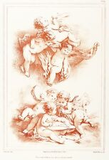 FRANCOIS BOUCHER - Putten mit Musikinstrumenten - Wattier - Lithografie 1840