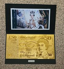 QUEENS 65th SAPPHIRE JUBILEE - PURE 24K GOLD*£50* 9.999 PROOF Banknote/Bill*RARE