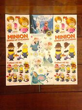 Lot 300 Vending Machine Sleeved Despicable Me Minion and Frozen Stickers