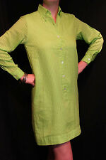 M~L Lime Green Grasshopper Vtg 60s Lined Shift Button Down Mini Shirt Dress