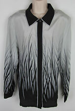 NWT Womens Bob Mackie 100% Silk shirt long sleeve button front Gray/Black Size L