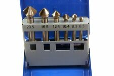 6pc HSS 3 Flute Countersink Set For Metal Milling Lathe Tapping Sizes