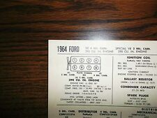 1964 Ford Series Models 390 CI V8 SUN Tune Up Chart Excellent Condition!