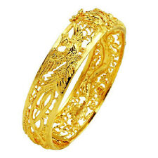 New style! Hollow Out Dragon and Phoenix Bracelet Gold-Plated Bangle Bride Style