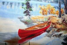 "OOP ""LAKESIDE CAMPING"" LAKE FISHING, CANOE, CABIN  OUTDOOR FABRIC"