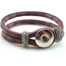 Hot Handmade Leather Bracelets Drill Fit For Noosa Snaps Chunk Charm Button 019