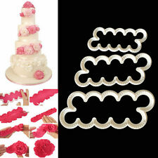 3Pcs Carnation Flowers Cake Fondant Sugarcraft Mold Cutter Gum Paste Decor Tools