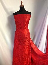 "NEW Designer Red Silky Satin Chiffon Floral Burnout Fabric 58""149cm Dress Scarf"
