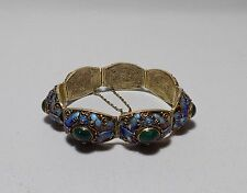 Chinese Silver-Gilt Filigree Enamel Butterfly Green Malachite Stone Bracelet