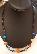 "HAND-CRAFTED 18"" SOLAR SYSTEM GEMSTONE NECKLACE - SUN & PLANETS"