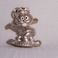 Garfield Baseball Player Sterling Silver & Gold Charm Pendant