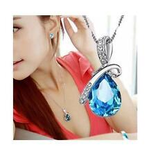 Valentine's Day Gift for her Unique Teardrop Blue Crystal Necklace Love w/ box