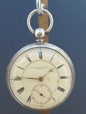 ANTIQUE 1872 SOLID SILVER FATTORINI & SONS POCKET WATCH - WORKING - WITH KEY