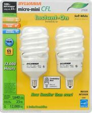 (2 Pack) CANDELABRA BASE 100 Watt = 23 W SOFT WHITE Sylvania CFL Light Bulbs