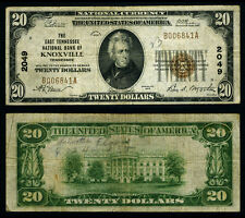 Knoxville Tn $20 1929 T-1 National Bank Note Ch #2049 East Tennessee Nb Fine+