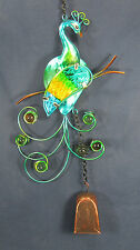 Peacock Bell Chime w/glass insert yard or garden decor ornament