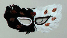 Black & White Feather Eye Mask Owl Masquerade Ball Fancy Dress