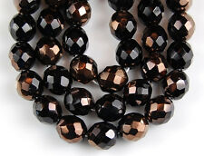 20pcs Black Gold Sapphire Round Fire Polished Faceted Glass Beads Preciosa 10mm