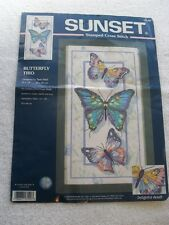 Sunset Dimensions Butterfly Trio Stamped Cross Stitch Kit