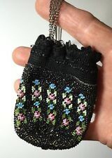 ANTIQUE Victorian Chatelaine Glass Beaded  Purse Pouch Sterling Chain Black Pink