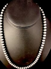 """Native American Navajo Pearls 5mm Sterling Silver Bead Necklace 21"""" Sale"""