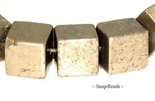8MM PALAZZO IRON PYRITE GEMSTONE PERFECT SQUARE CUBE 8X8MM LOOSE BEADS 8""