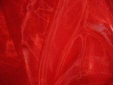 A06 (Per Meter) Red Crystal Mirror Organza Darpping Dress Sheer Fabric Material