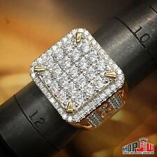 Mens Yellow Gold Finish .925 Silver Simulated Diamond Ring PInky Square Hip Hop