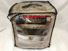 SLUMBER REST Microvelvet Velvet Plush FULL Heated Blanket Cocoa