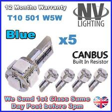 5 x ERROR FREE CANBUS W5W T10 501 LED SIDE LIGHT BULB 5 SMD - Blue