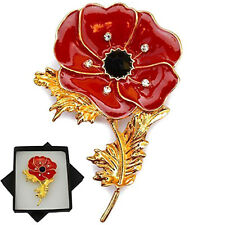 Womens Red Remembrance Poppy Pin Brooch Crystal Badge Gold Flower Jewelry