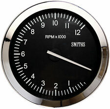Smiths Classic Motorsport Tachometer / Rev Counter 100mm 0-12K RPM Chrome Bezel