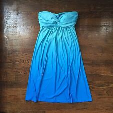 B. Darlin Turquoise Ombre Strapless Stretch Flare Sweetheart Jersey Dress 3/4
