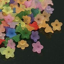 100pcs Mixed Color Frosted Transparent Acrylic Flower Beads DIY Jewelry Making