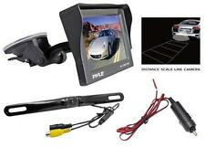 """New Pyle 4.7"""" LCD Window Suction Mount Monitor + License Plate Backup Camera Kit"""