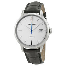 Montblanc Meisterstuck Heritage Silver Dial Black Leather Mens Watch 111622