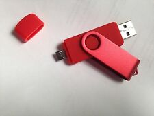 Red 8GB USB 2.0 and micro usb Flash Pen Drive Memory Stick Rotary Thumb Key MICR