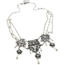 Antiq Nouveau Floral Filigree Wedding Pearl Choker Necklace W/ Swarovski Crystal