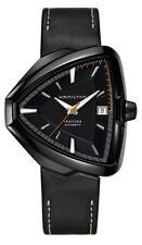 NEW HAMILTON VENTURA ELVIS AUTO BLACK PVD ON LEATHER H24585731