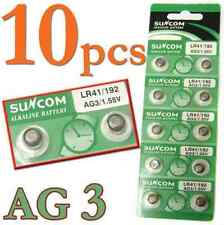 10p/SET AG3 SG3 LR41 192 1.55V Alkaline coin Button coin Cell Battery Suncom CN