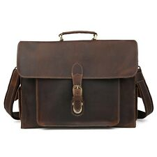 "Men's Vintage Real Leather Messenger Shoulder Bag 14"" Laptop Satchel Breifcase"