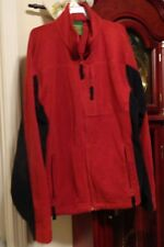 M Mens Cabelas Fleece Jacket Coat Red Black Zip Winter Stand Up Collar Long Slee