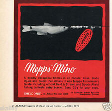 1970 Print Ad of Sheldons' Mepps Mino Fishing Lure